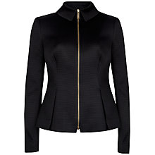 Buy Ted Baker Textured Peplum Jacket, Black Online at johnlewis.com