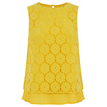 Buy Oasis Pleat Hem Lace Shell Top, Bright Yellow Online at johnlewis.com