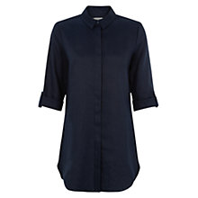 Buy Hobbs Linen Cathy Tunic Shirt, Light Navy Online at johnlewis.com