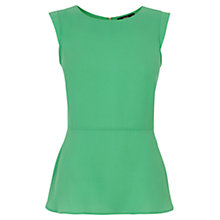 Buy Oasis Plain Peplum Top, Mid Green Online at johnlewis.com