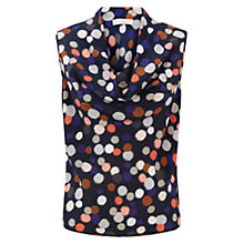 Buy Hobbs Silk Ava Cowl Neck Top, Navy Multi Online at johnlewis.com