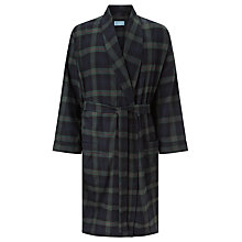 Buy John Lewis Brushed Cotton Blackwatch Check Robe, Navy Online at johnlewis.com