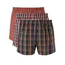 Buy John Lewis Jake Tartan Woven Cotton Boxers, Pack of 3, Red/Blue/Green Online at johnlewis.com