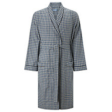 Buy John Lewis Brushed Cotton Bob Check Robe, Grey Online at johnlewis.com