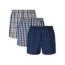 Buy John Lewis Ferenc Check Woven Cotton Boxers, Pack of 3, Blue Online at johnlewis.com