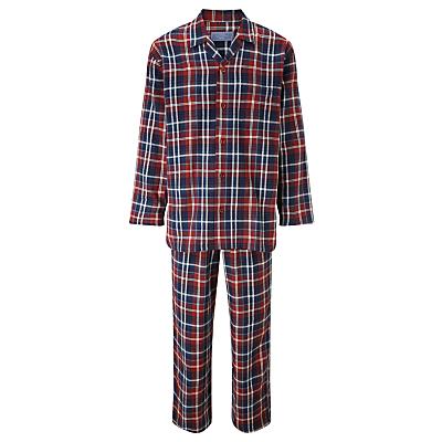 John Lewis Walter Brushed Check Cotton Pyjamas, Red