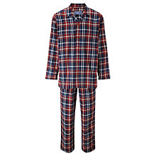 Buy John Lewis Walter Brushed Check Cotton Pyjamas, Red Online at johnlewis.com
