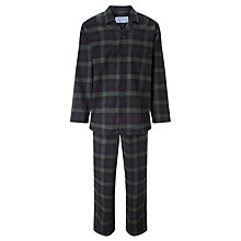 Buy John Lewis Blackwatch Check Brushed Cotton Pyjamas, Navy Online at johnlewis.com