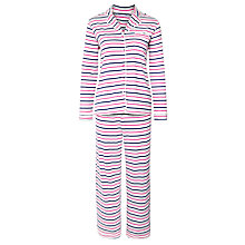 Buy John Lewis Stripe Pyjama Set, Grey/Pink Online at johnlewis.com