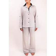 Buy Cyberjammies Freya Stripe Pyjama Set, Black / White Online at johnlewis.com