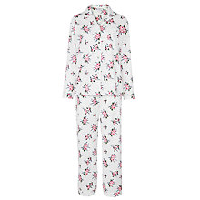 Buy John Lewis Rose Print Floral Pyjama Set, White/Pink Online at johnlewis.com