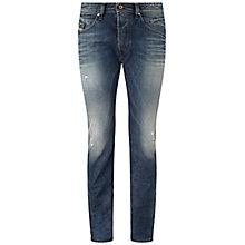 Buy Diesel Belther 843S Distressed Tapered Jeans, Mid Wash Online at johnlewis.com
