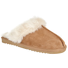 Buy John Lewis Faux Sheepskin Mule Slippers, Tan Online at johnlewis.com