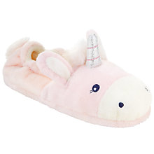 Buy John Lewis Unicorn Closed Back Slippers, Pink/White Online at johnlewis.com