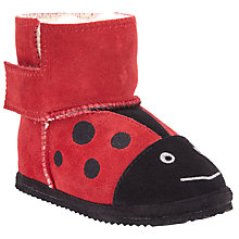 Buy John Lewis Ladybird Faux Fur Slippers, Red/Black Online at johnlewis.com