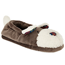 Buy John Lewis Sean Dog Slippers, Brown/Cream Online at johnlewis.com