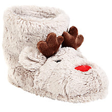 Buy John Lewis Rudolph Reindeer Slippers, Cream Online at johnlewis.com