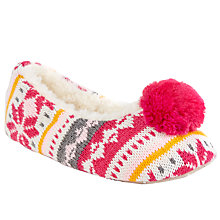 Buy John Lewis Pom Pom Knit Slippers, Pink/Multi Online at johnlewis.com