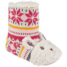 Buy John Lewis Knitted Bunny Slipper Boots, Pink/Multi Online at johnlewis.com