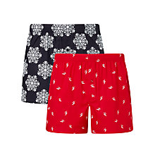 Buy John Lewis Xmas Snow Flake/Skiing Printed Cotton Boxers, Pack of 2, Red/Blue Online at johnlewis.com