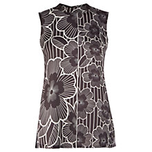 Buy Warehouse Monochrome Rose Print Top, Black Online at johnlewis.com