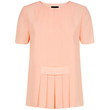 Buy Jaeger Opaque Panel Short Sleeved Top, Coral Pink Online at johnlewis.com