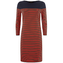 Buy Jaeger Breton Stripe Dress, Navy/Red Online at johnlewis.com
