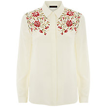 Buy Jaeger Silk Embroidery Shirt, White/Pink Online at johnlewis.com