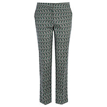 Buy Warehouse Leaf Print Trousers, Black Online at johnlewis.com
