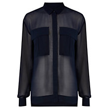 Buy Warehouse Sheer Military Shirt, Navy Online at johnlewis.com