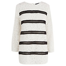 Buy Warehouse Striped Lace Panel Top, Monochrome Online at johnlewis.com