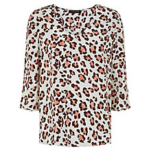 Buy Jaeger Silk Animal Print Top, Stone Online at johnlewis.com