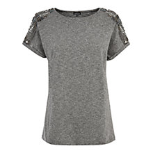 Buy Warehouse Embellished Shoulder T-shirt, Grey Online at johnlewis.com