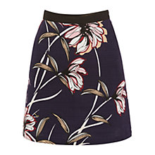 Buy Warehouse Wallpaper Floral Cotton Skirt, Black Online at johnlewis.com