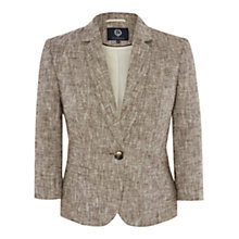Buy Viyella Petite Linen Stitched Jacket, Bitter Chocolate Online at johnlewis.com