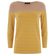 Buy Jaeger Breton Stripe Top, Camel/Gold Online at johnlewis.com