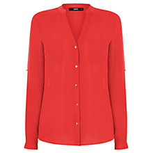 Buy Oasis Nehru Collar Patch Shirt, Coral Online at johnlewis.com