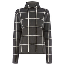 Buy Warehouse Funnel Neck Check Jumper, Dark Grey Online at johnlewis.com