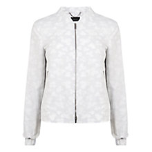 Buy Karen Millen Cotton Jacquard Bomber Jacket, White Online at johnlewis.com