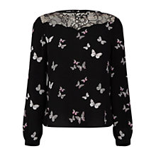 Buy Oasis Butterfly Print Three-Quarter Sleeve Top, Rich Blue Online at johnlewis.com