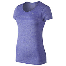 Buy Nike Dri-FIT Knit Short Sleeve Running Top, Purple Online at johnlewis.com