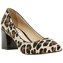 Buy Dune Alise Block Heeled Court Shoes, Leopard Pony Online at johnlewis.com