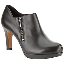 Buy Clarks Amos High Heeled Ankle Boot, Black Leather Online at johnlewis.com
