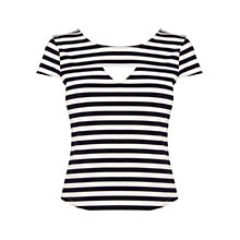 Buy Karen Millen Graphic Stripe T-Shirt, Blue / White Online at johnlewis.com