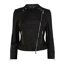 Buy Karen Millen Italian Leather Biker Jacket, Black Online at johnlewis.com