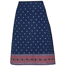 Buy Fat Face Claire Adita Border Cotton Skirt, Indigo Online at johnlewis.com