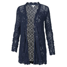 Buy Fat Face Corby Crochet Waterfall Cotton Cardigan, Navy Online at johnlewis.com