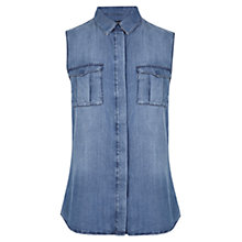 Buy Karen Millen Soft Denim Sleeveless Shirt, Dark Denim Online at johnlewis.com