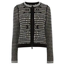 Buy Karen Millen Vintage Quilt Textured Knit Cardigan, Black / White Online at johnlewis.com
