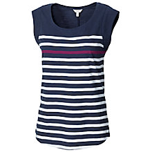 Buy Fat Face Mini Sleeve Berry Stripe T-Shirt, Indigo Online at johnlewis.com